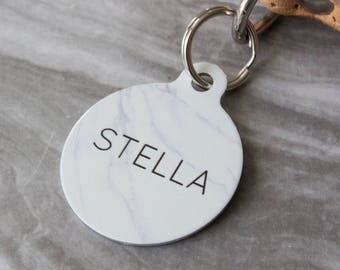 Personalised Faux Marble Pet ID Tag  - Dog Name Identification