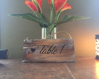 Wood Table Numbers / Wedding table decor / Wedding table numbers / Table 1 / Hanging Table Numbers / Table Cards / Cute Table Numbers