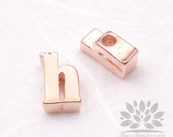 """IP003-GRG-H// Glossy Rose Gold Plated Simple Lower Case Initial """"h"""" Pendant, 2 pcs"""