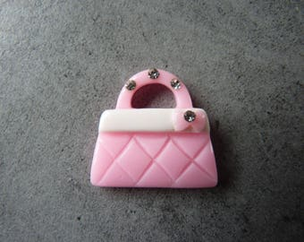 Purse two-tone Pink + Rhinestone Charm