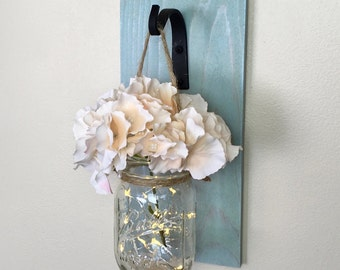 Mason Jar Wall Decor, Mason Jar Wall Sconce, Lighted Mason Jar Wall Sconces, Farmhouse Decor, Shabby Chic Decor, Mason Jar Decor