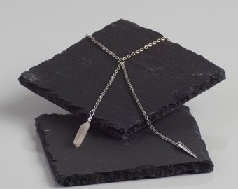 Quartz and Spike Asymmetrical Double Ended/X Necklace with White Gold Plated Chain. Edgy. Modern. Unique. Dainty. Made to Order.