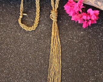 Multi Strand Boho Necklace - Knotted Bead Jewelry - Knot Necklace Long - Long Open Necklace - Seed Bead Layering Necklace - Long Necklace