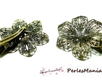 Finish jewelry: 10 hair clip alligator style 3D flower stand bronze ref 2M 3225