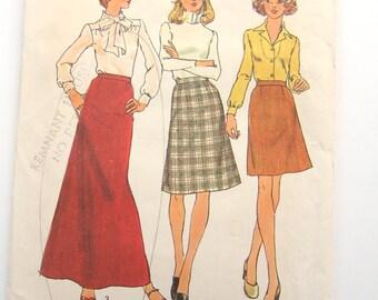 Vintage 1970s Skirt Pattern | Simplicity 7142 Simple to Sew | Long Skirt & Short Skirt Sewing Pattern | Retro Pattern