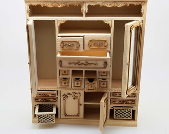 Miniature dollhouse unfinished all-purporse wardrobe one inch scale - code VMJ 1601