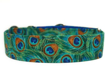 Peacock Feathers Dog Collar / Custom Dog Collar / Martingale Dog Collar