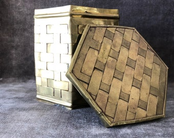 Vintage woven brass hexagon canister w lid