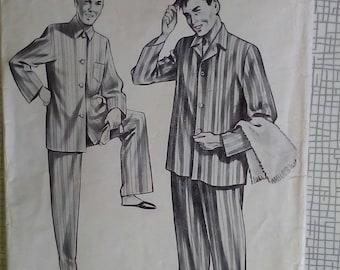 """1950s 1960s Men's Pyjamas - 38"""" Chest - Le Roy 2097 - Vintage Retro Sewing Pattern"""