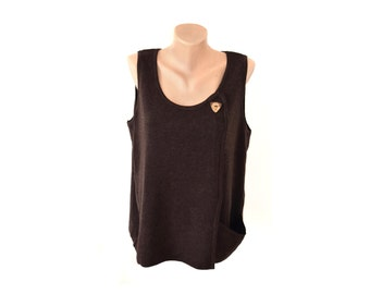 Vintage Deerberg women vest brown virgin wool Made in Germany