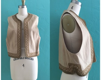 vintage 80's brown embroidered vest // ethnic boho vest