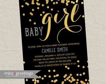 Gold Metallic Baby Shower Invitation - Printable Digital File