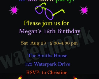 Glow In the Dark Birthday Invitation