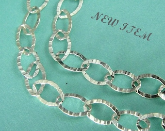 Silver Flat Cable Chain Textured  3 ft  Hammered Sterling Silver  8x5.5mm