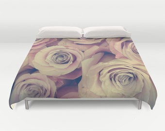 ROSES Duvet Cover, Pink Bedding, Flower bedding, Unique design, Flower Comforter Cover, Lilac, Twin, Full Queen, King, Retro, Vintage, Dorm