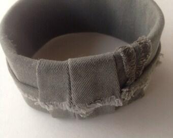 Green fabric cuff bracelet