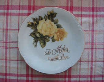 Vintage Mother Plate, Yellow Roses, 1940's, Gift for Mom, Perfect for Mother's Day, Collector Plate, Wall Decor, Mid Century Marvelous ~