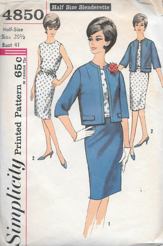 Vintage 1960s Simplicity Sewing Pattern 4850 Misses\'