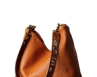 Camel bag, camel leather bag, camel hobo bag, camel bags, leather camel handbag, Mandarin bag, Orange bag, embroidery bag, embroidery strap