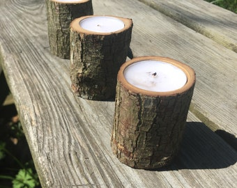 Wooden Tea Light Tree Branch Candle Holders, Rustic, Wedding, Mother's Day Gift, Housewarming Gift