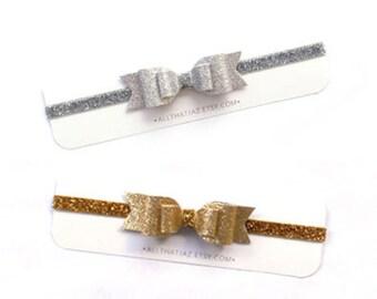 SALE Glitter Bow | glitter headband | gold glitter bow | silver glitter bow | mommy and me | big sis little sis | twinning