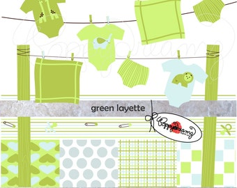 Green Layette Paper and Elements SET: Digital Scrapbook Paper Pack (300 dpi) New Baby Shower Green Blue Baby Boy
