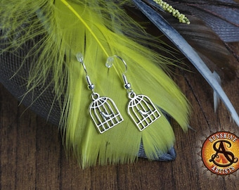 Birdcage earrings, dangle charm earrings, Bird in a cage, Bird lover, Tibetan silver, silver plated or surgical steel ear wires gift for her