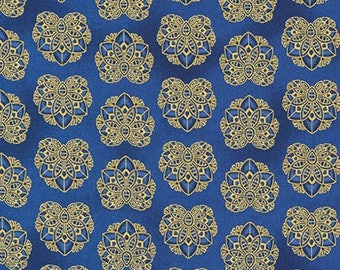 Valley of the Kings Flowers Blue Gold Kaufman Fabric 1 yard