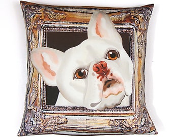 French Bulldog Pillow Cover - White - Square Frenchie Pillow