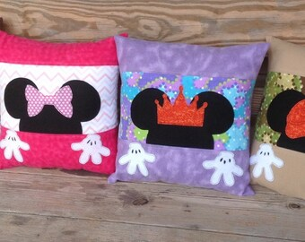 Peek-a-Boo Mickey or Minnie Decorative Pillow - 14x14 - insert included