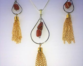 Red Jasper Crystal Necklace and Earring Set