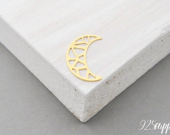 925 Sterling Silver moon gold plated, the moon pendant, a small moon, the moon jewelry, padlock, blank moon, the moon element,