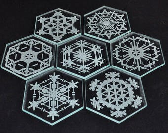 Snowflake Hexagonal Crystal like Coaster Set - Engraved in Acrylic - Set of 7 with Holder
