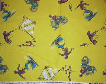 Curious George on yellow -  Cotton Fabric - 22 1/2  inches long and 27 1/2 inches wide