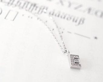 Initial E Necklace Silver925