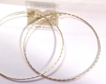 LARGE Hoop Earrings 4.5 inch Hoop Earrings SILVER Rhodium Plated Hoop Earrings Thin Hoops Hypo-Allergenic