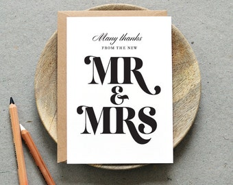 Printable Wedding Thank You Folded Card PDF / 'Bold Strokes' Mr and Mrs Personalised Note / Modern / Digital File / Printing Also Available