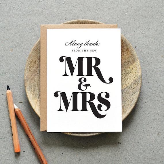 printable wedding thank you folded card pdf  'bold