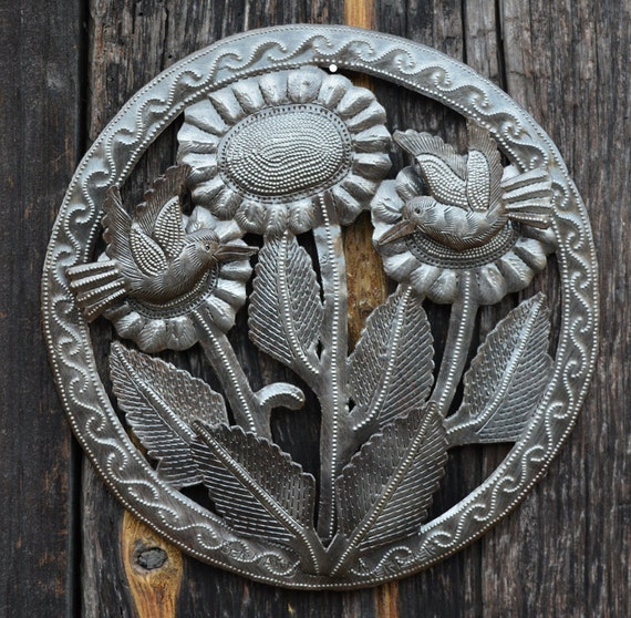 "Sunflower, Recycled Metal Art, Handcrafted in Haiti 9.5"" x 9.5"""