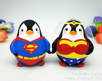 Superman And Wonder Woman Cake Toppers, Batman And Wonder Woman Wedding Cake Toppers, Superhero Wedding Cake Toppers, Penguin Cake Toppers