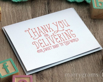 Thank You for Delivering Baby, Greeting Card Thank You Note for OBGYN Doctor, Hospital from New Parents