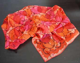 60s vera Neumann  semi sheer  scarf rectangular