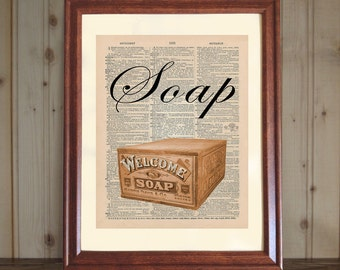 Soap Dictionary Print, Bathroom Wall Art, Bath Print, Soap Wall Art, Old Fashioned Bathroom Decor, Soap Print on 5x7 or 8x10 Canvas Panel