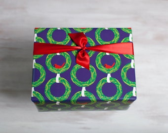 Wreath Recycled Gift Wrap, Purple Cardinal Wrapping Paper, Eco-Friendly Christmas Hanukkah Winter Holiday, Red Bird, Made in the USA