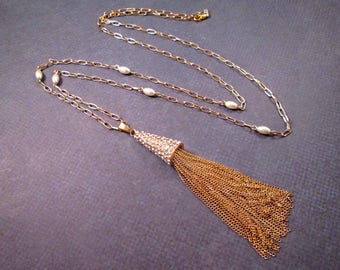 Gold Tassel Necklace, Pave Cone Bead Cap, White Glass Rhinestone and Pearl Beaded Necklace, FREE Shipping U.S.