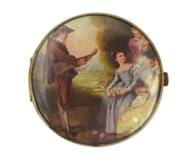 Vintage Compact Mirror, West Germany Double Mirror, French Courting Scene Flapjack Compact