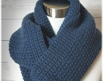 SALE!! The Hamilton... OVERSIZED infinity scarf, crochet cowl, winter scarf. Great ski wear. Gorgeous cape cod..slate.. blue. Ready to ship