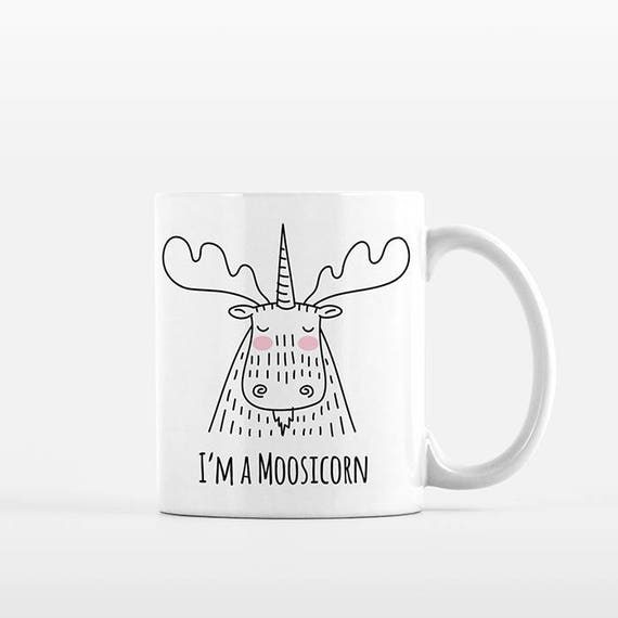 Moosicorn Coffee Mug, Moose Unicorn, Ceramic Mug, Funny Mug, Cute Mug, Unique Coffee Gift, Coffee Lovers Gift, Office Mug, Coffee Cup