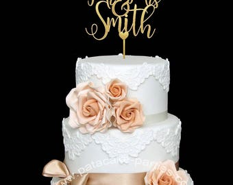 Mr and Mrs Wedding Cake Topper Custom Wedding Cake Topper Personalized Cake Topper Personalized Name Wedding Cake Topper
