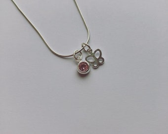 Sterling Silver Mini Butterfly and Pink CZ Crystal Charm Necklace